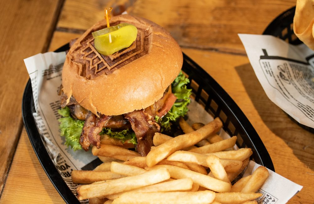 Towers burger with fries