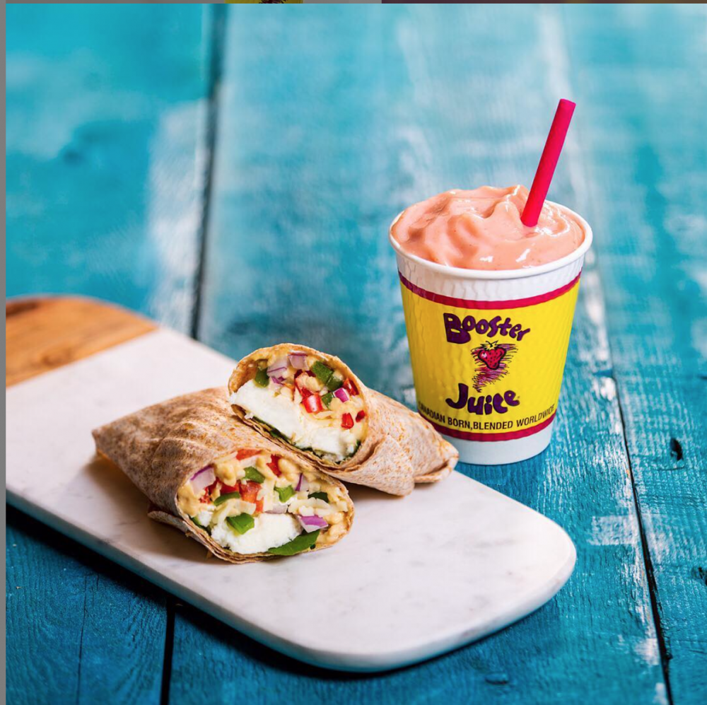 Booster Juice Pineapple Freeze Smoothie and Wrap