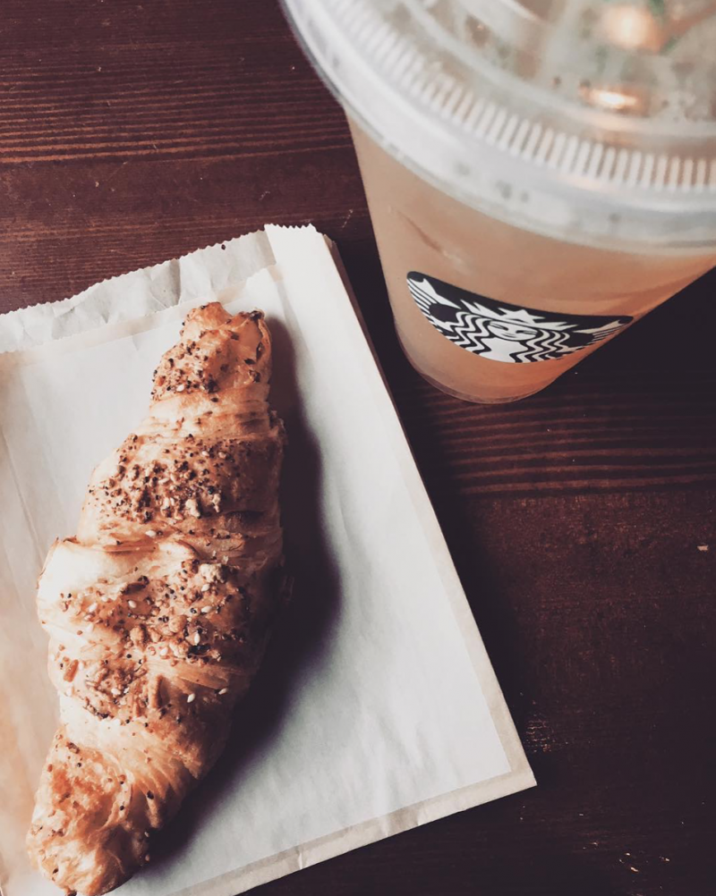 Starbucks Iced Coffee and Croissant